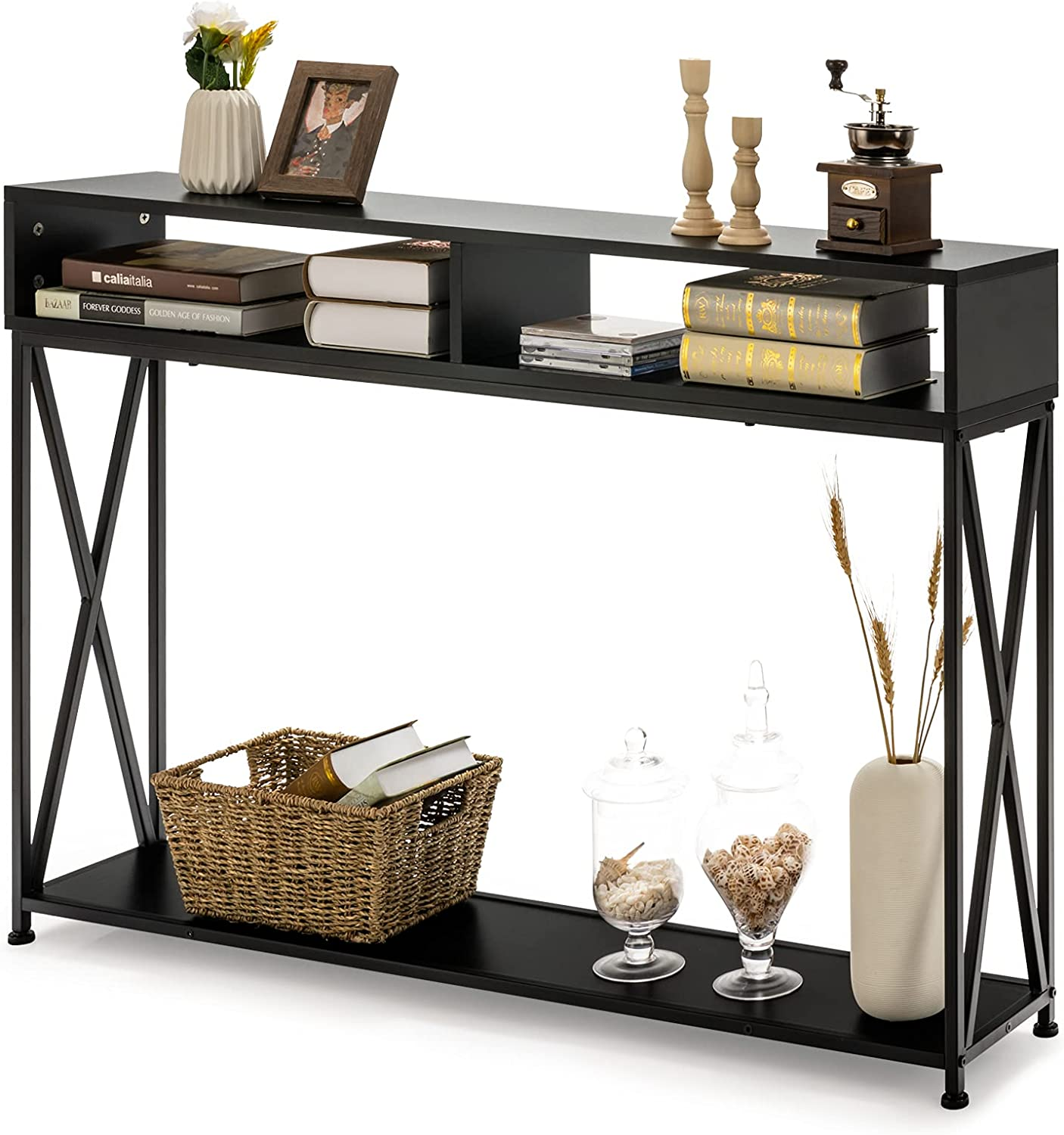 Giantex Console Max 53% OFF Table 2 Long-awaited Tier with Open Storag Shelf Sofa