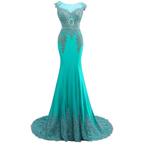 88597c9222c8 Dydsz Long Evening Dresses for Women Formal Prom Dress Mermaid Beaded  Appliques D86