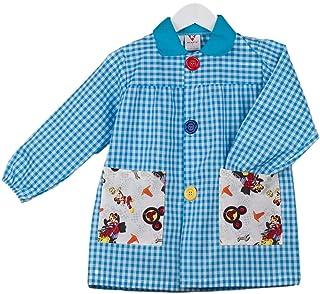 KLOTTZ Tablier Blouse Mickey pour Enfants à Carreaux. Puor l'école e travaux manuels. Garçon