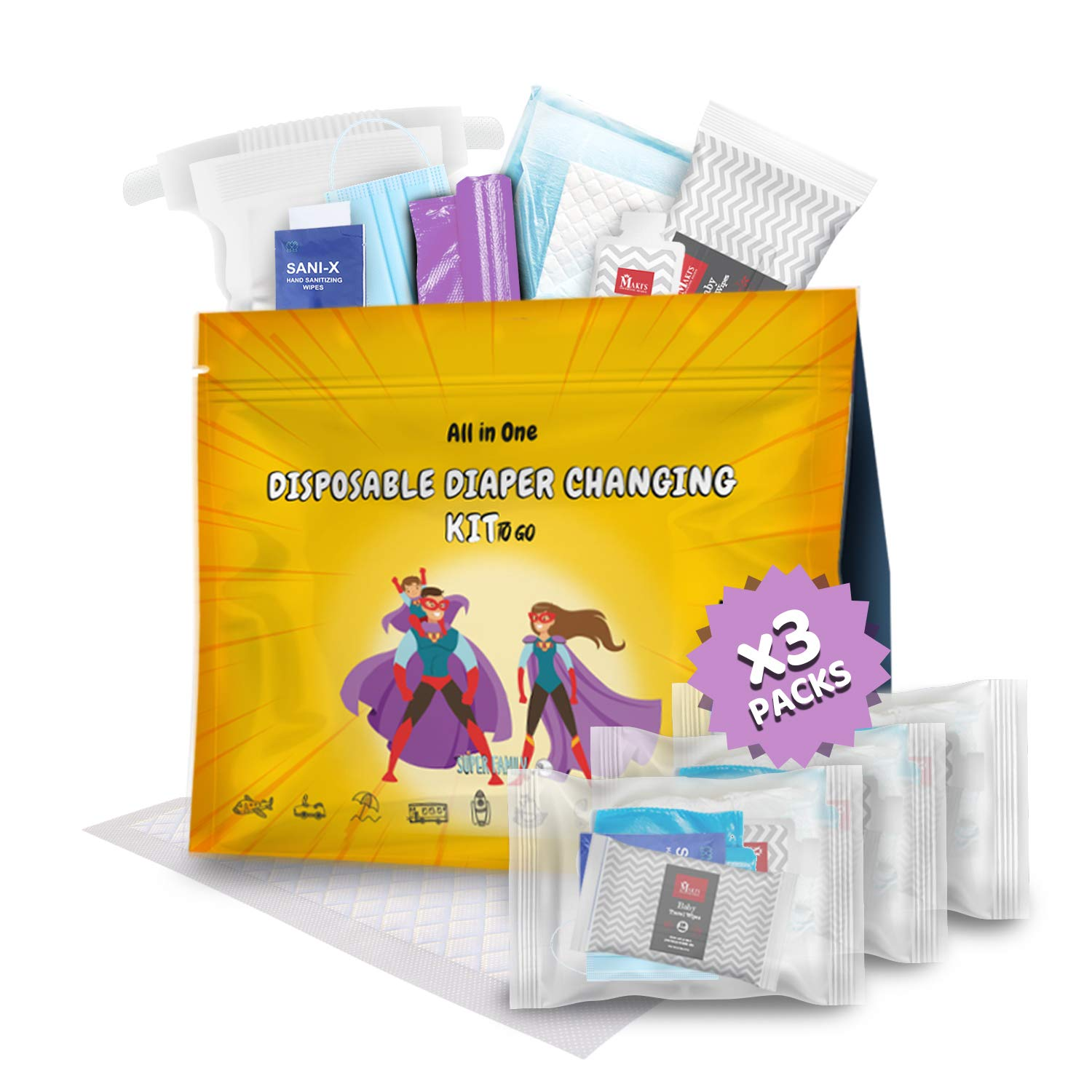 Disposable Diaper Changing Kit to Many popular brands In a popularity Individual Go Contains Pac 3