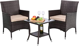 HTTH 3 Pieces Patio Porch Furniture Sets PE Rattan Wicker Chairs Washable Cushion with Tempered Glass Tabletop Outdoor Conversation Garden Backyard Furniture Sets
