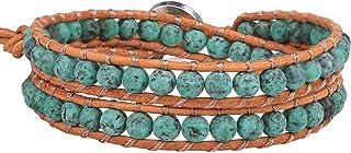 KELITCH فيروزي مطرز جلد لف سحر سوار للرجال النساء الرجال قابل للتعديل اليدوية الإسورة الكفة مجوهرات هدية