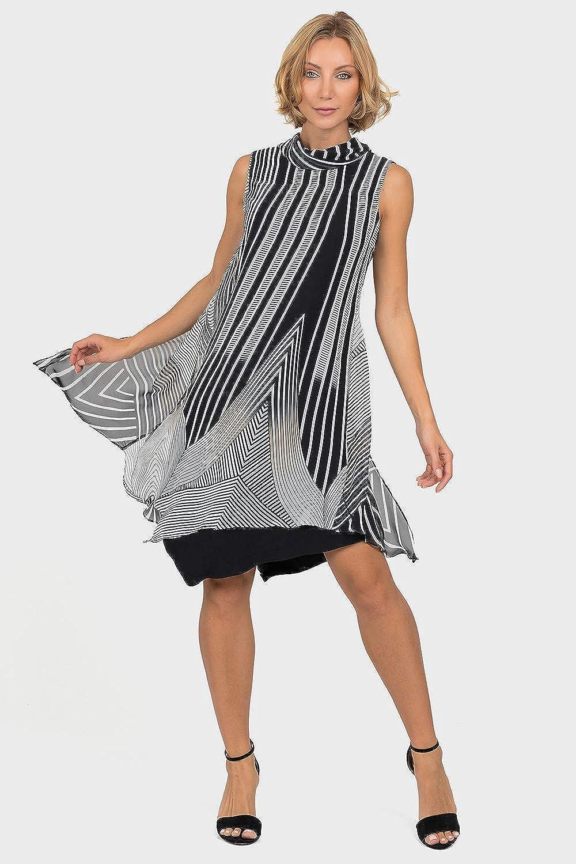 Joseph Ribkoff Black Beige Multi Dress Style 191628