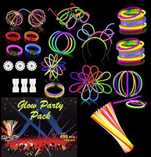 Goodern Glow Party Pack Sticks Set 490 PCS Neon Light Sticks Party Supply Decoration with Connectors To Create Glow In The...