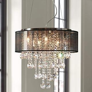 "Saint Mossi Chrome Modern K9 Crystal Chandelier Lighting LED Ceiling Light Fixture Pendant Lamp for Dining Room Bathroom Bedroom Livingroom 7G9 Bulbs Required H19"" W22"""