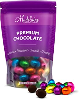 Madelaine Chocolates Easter Eggs - Solid Premium Dark Chocolate Eggs Foiled In Assorted Solid Jewel-tone Colors - Traditional Easter Basket Mainstays (1 LB)