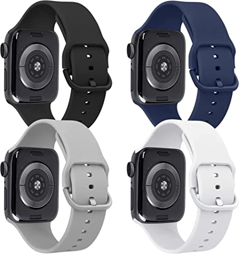 Tobfit 4 Pack Compatible for Apple Watch 38mm 40mm, Soft Sport Watchband Replacements for iWatch Series 6 5 4 3 SE (B...