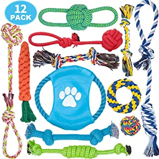 DELOMO Dog Rope Toy, 12 Pack Dog Rope Toys, Natural Cotton Dog Toy Pack for Small Dog & Puppy