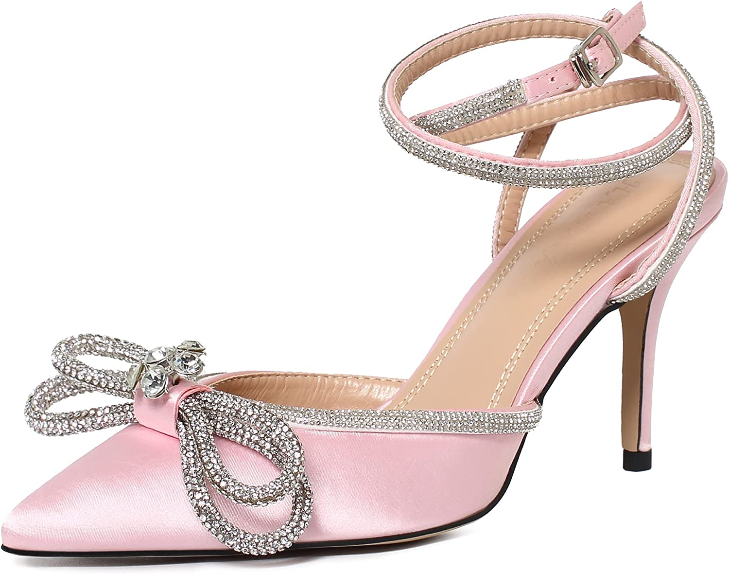 Women's High Heeled Sandals Pointed Toe Double Crystal Bow Glitter Satin Backless Ankle Straps Buckle Stiletto Slip On Pumps