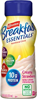 Carnation Breakfast Essentials Ready-to-Drink, Creamy Strawberry, 8 Ounce Bottle (Pack of 24)