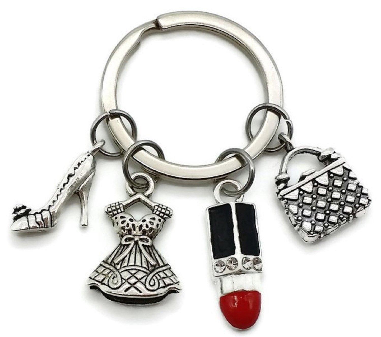 Kit's Kiss 时尚钥匙扣,化妆钥匙扣,口红钥匙扣,高跟钥匙扣,手提包钥匙扣,连衣裙钥匙扣,精品饰品,裙子饰,时尚魅力,女士礼物,时尚钥匙圈