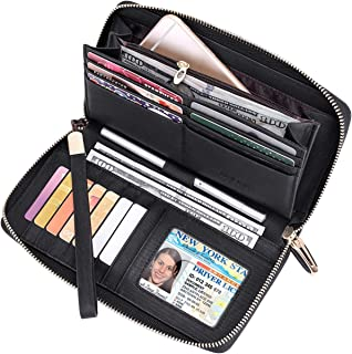 Women RFID Leather Wristlet Wallets Zip Around Phone Checkbook Card Big Clutch Large Ladies Travel Purse