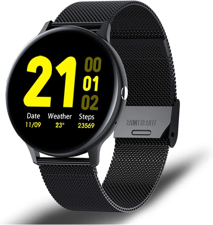 FFF8 Nueva Llamada Bluetooth Smart Watch Men Mujer Modo Deportivo Modo Cardíaco Y Presión Arterial Monitor Monitor SmartWatch (Color : Steel Black)