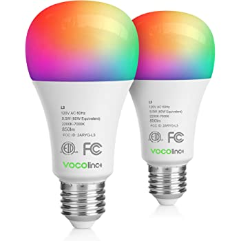 VOCOlinc Wi-Fi LED Light Bulb Works with Apple HomeKit Siri A21 9.5W(60W) Smart Multicolor RGBW App-dimmable Works with Alexa Google Assistant No Hub Required 2.4GHz SmartGlow (2 Pack)