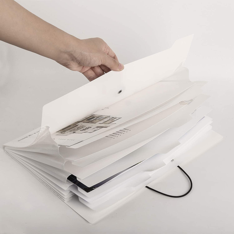 Cartelle a Soffietto Espandibili,A4 Cartella Portadocumenti Espandibile con 8 Tasche,Cartelle Porta Document per Casa Scuola e Viaggio di Lavoro Bianco