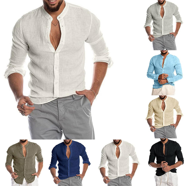 Men's Cotton Linen Button Down Dress Shirt Men Long Sleeve Casual Beach Tops Casual Regular Fit Basic Henley Shirts (XX-Large,Black)