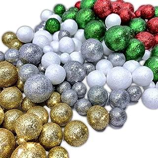 BANBERRY DESIGNS Multi Colored Foam Balls- 5 Bag Set of Silver Red Green Gold White Glittered Vase Filler Decorative Balls - Table Scatter Decorations - Party Decor -Glittery Colored Snow Balls