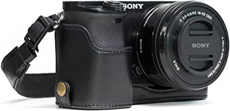 MegaGear Ever Ready Leather Camera Half Case Compatible with Sony Alpha A6300, A6000