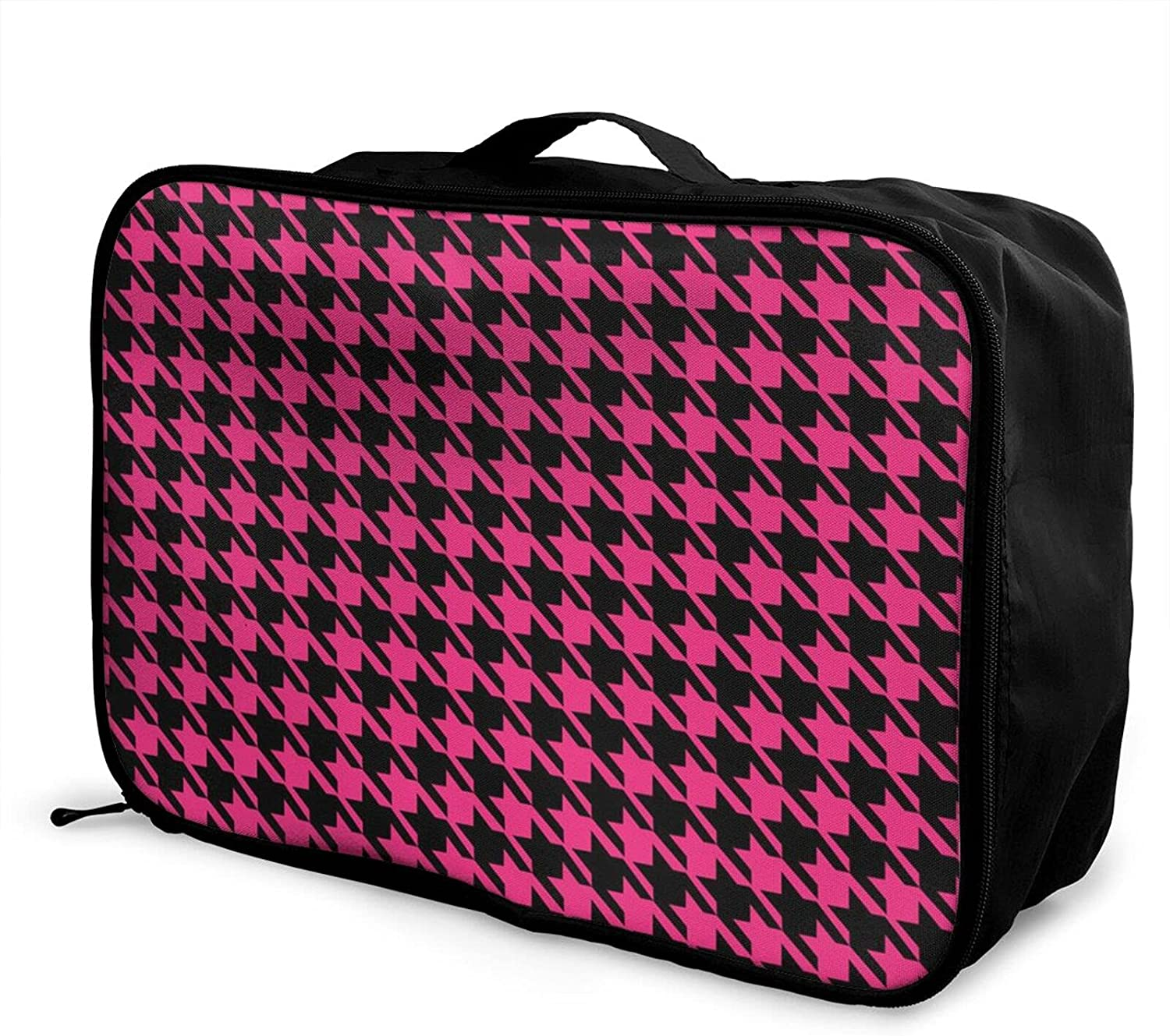 Foldable Travel Bag Tote Houndstooth Plaid Excellence Pink Lattice NEW Carry-On
