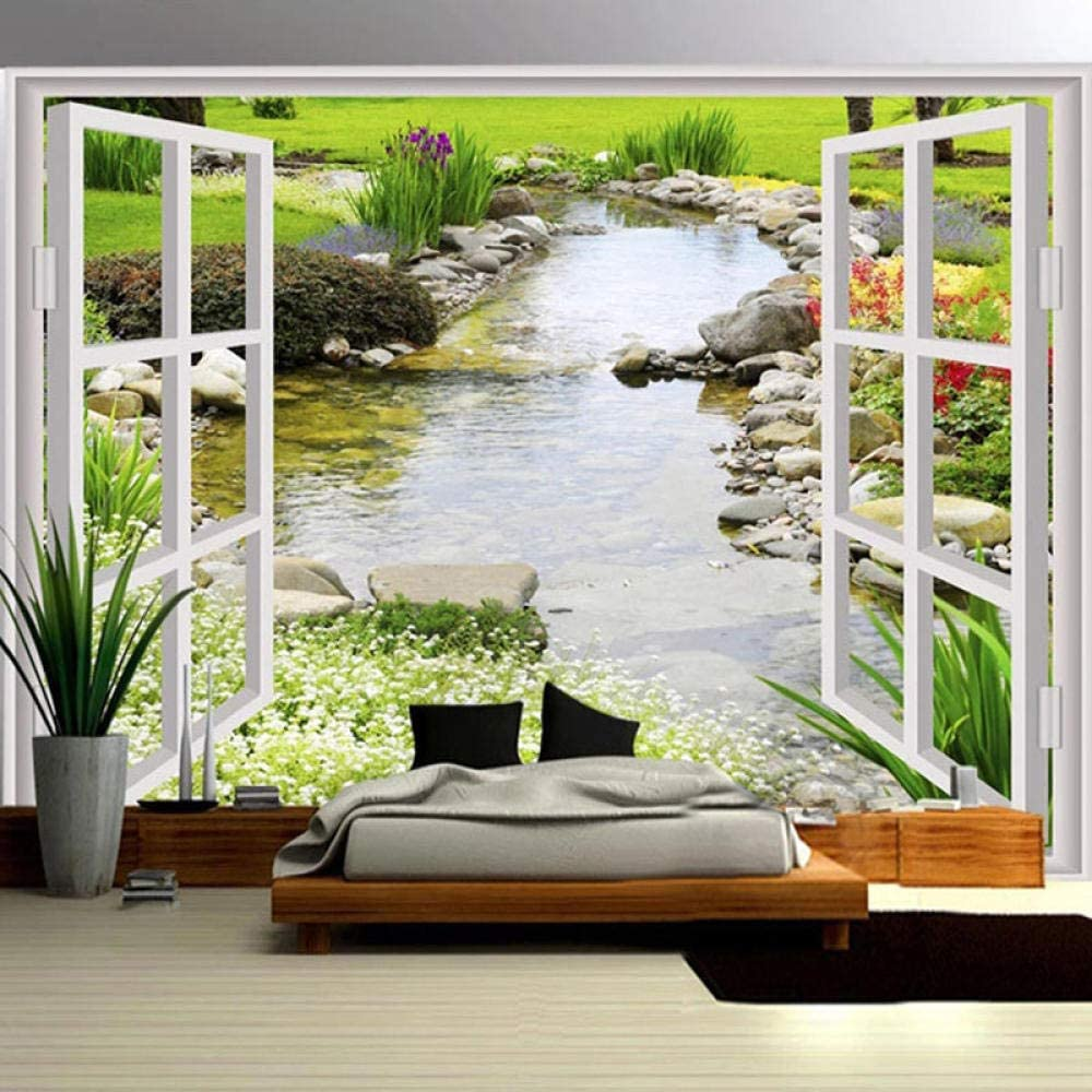 Max 65% OFF Ansyny 3D Wallpaper Easy-to-use Garden River Mural Flowers Landscape Living