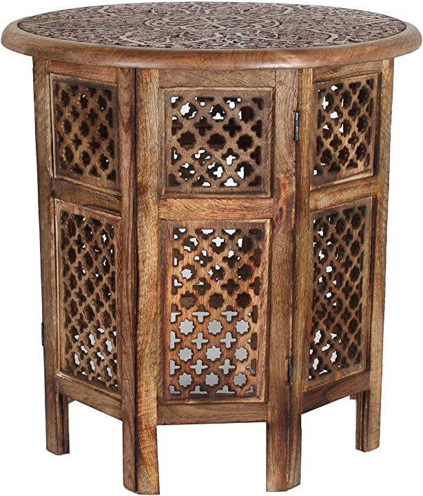 Tavolino orientale hamza in legno massiccio diametro: 52 cm altezza: 52 cm casa moro B07MZX1NF1