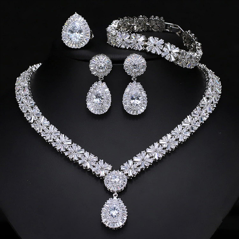 SYXMSM Jewellery Set CZ Necklace Ring Ranking TOP10 Earrings Big 1 year warranty Bracelet 4pcs