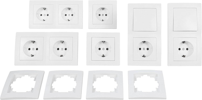 McPower Flair - Juego de interruptores y enchufes (20 piezas), color blanco