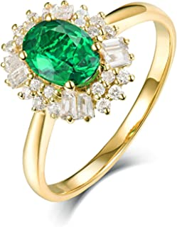 Daesar Anello in Oro Giallo 18 K, Anelli Donna Fidanzamento Anello Smeraldo Donna 0.8ct Fiore Anello di Fidanzamento Oro G...
