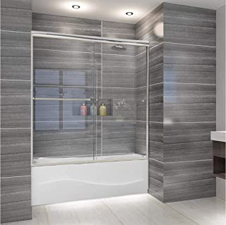 ELEGANT 58.5-60 in. W x 57 3/8 in. H Bypass Sliding Tub Glass Shower Door, 1/4 in. Clear Tempered Shower Glass Panel, Chrome Finish