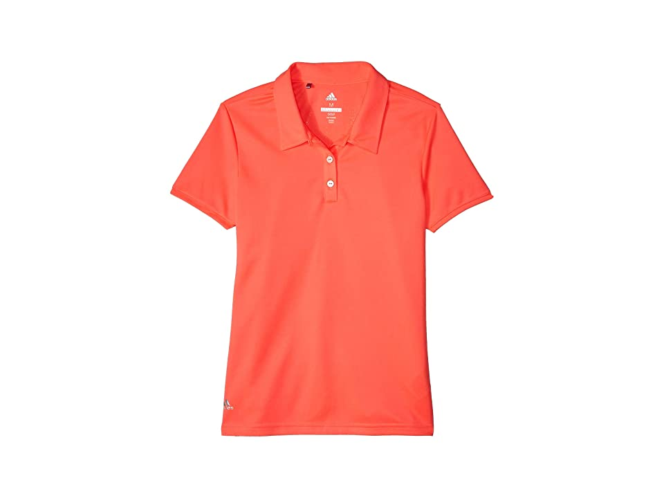 Image of adidas Golf Kids Tournament Short Sleeve Polo (Big Kids) (Red Zest) Girl's Clothing