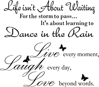 2 Sheets Live Every Moment Laugh Every Day Love Beyond Words Stickers Vinyl Wall Decals Motivational Wall Quote Sayings St...