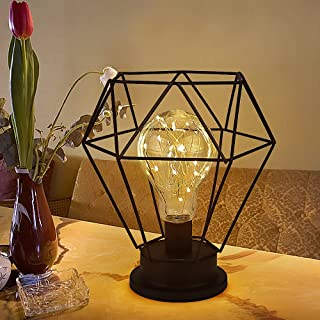 Punvot Lampe de table à piles en métal, lampe de table vintage, lampe de table Diamond, lampe de table rétro, vintage, san...