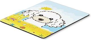 Caroline's Treasures BB2125MP White Poodle Summer Beach Mouse Pad, Hot Pad or Trivet, Large, Multicolor