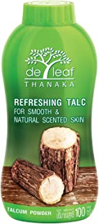 De Leaf Thanaka Refreshing Talc Smooth and Natural Scented Skin, Talcum Powder Beauty Skincare Organic Face Body Clean Fresh Cooling Sooth Irritation, 100 g 3 Pack Count