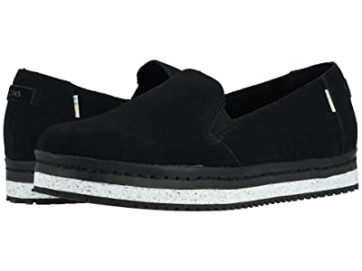 TOMS Palma Leather Wrap (Black Suede) Women
