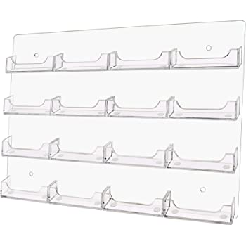 Notched Pockets Set of 12 Clear Plastic Frameless Design 6 Horizontal Pockets Business Card Racks for Use On Slatwall Panels