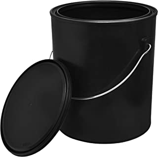 1 Gallon Black All-Plastic (Polypropylene) Paint Can with Ears, Bail and Lid - Can Made from 100% Recycled Plastic