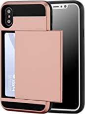 iPhoneX Case, iPhone 10 Case, TOP CASE Hybrid Wallet Case Card Holder Heavy Duty Protection Shockproof Soft Rubber Bumper Case for Apple iPhone X - (Rose Gold) Free Tempered Glass Screen PORTECTOR!