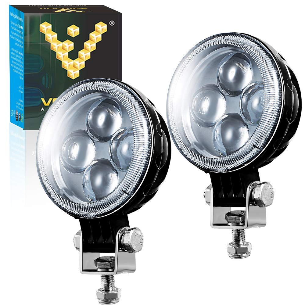 2 Pack Voltage Automotive LED Pods Flood Lights 4 27W Round LED Fog Light 6000K Waterproof for Off Road Truck Jeep SUV ATV Vehicles Boat Marine and Automotive
