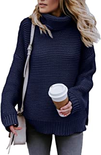 Womens Turtle Cowl Neck Solid Color Soft Comfy Cable Knit...