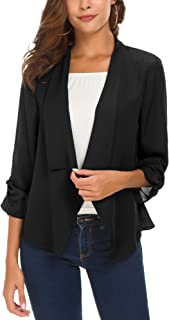 Urban CoCo Women's Ruched Sleeve Lightweight Thin Chiffon Blazer