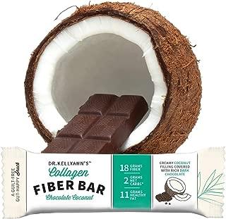 Barra de fibra de colágeno – Coco de chocolate (12 unidades), 2 g de carbohidratos, 18 g de fibra, sin azúcar añadido, relleno de coco cremoso cubierto en chocolate oscuro, Chocolate Coconut, Collagen Fiber Bar