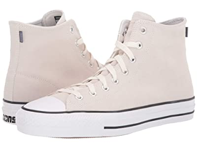 Converse Skate Chuck Taylor All Star Pro Rubber Backed Suede Hi (Vintage White/White/Black) Shoes