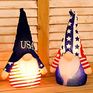 EDLDECCO Patriotic Gnome Light up 9 Inches Set of 2 Stars and Stripes Nisse Figurine Plush Swedish Nordic Tomte Scandinavian Elf 4th of July Memorial Day Veterans Day Decor (Blue & White)