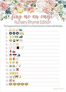 Pink Floral Baby Shower Nursery Rhyme Emoji Game - 20 Guests