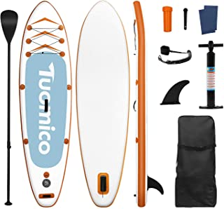 Tuomico Inflatable Stand Up Paddle Board 10FT30IN6IN with Premium SUP/ISUP Accessories-Backpack, Bottom Fin for Paddling, ...