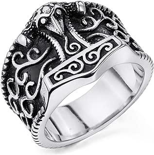 MENDINO Mens Stainless Steel Ring Viking Thor Hammer Stainless Steel Ring of Silver Tone Colour with 1X Velvet Gift Bag (Silver)