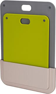 Joseph Joseph DoorStore Chop Cutting Board Set with Storage Case 3M Adhesive Wall and Cabinet Door Mount, 2-Piece, Multicolored