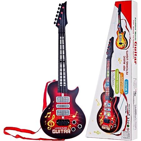 Leic Jouet de guitare électrique 4 cordes Instruments de Simsulation jouant de la guitare électrique jouet éducatif musical cadeau pour enfants enfants