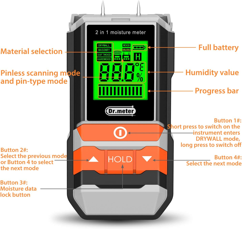 Dr.meter Feuchtigkeitsmessger/ä 2 in 1 wandfeuchtemessger/ät Pin /& Pinlessnktion Multifus-Feuerholz- Geb/äude- Pin-Typ Wand- /& Scanner-Holzfeuchtetester